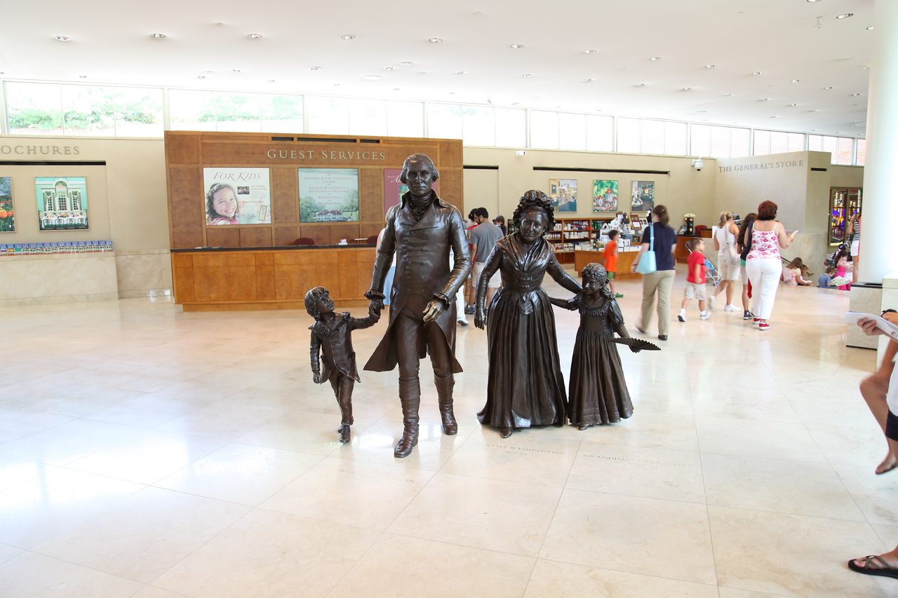 Statues of George and Martha Washington with their grandchildren -- Visitor Center, Mount Vernon, VA