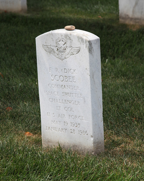 Tombstone of Dick Scobee, Commander of the Space Shuttle Challenger on its last flight.  Arlington National Cemetery.