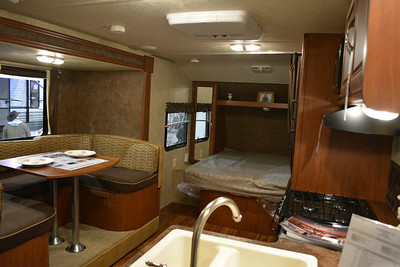 Inside the travel trailer