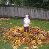 Julia in the big leaf pile