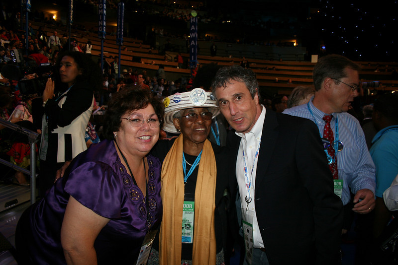 Delegates Julie Johnson and Rosa Franklin and State Sen. Brian Weinstein (D-41) Washington delegates at the Democratic National Convention in Denver Wednesday, August 27, 2008. (Anne-Marie Taylor Lathrop)
