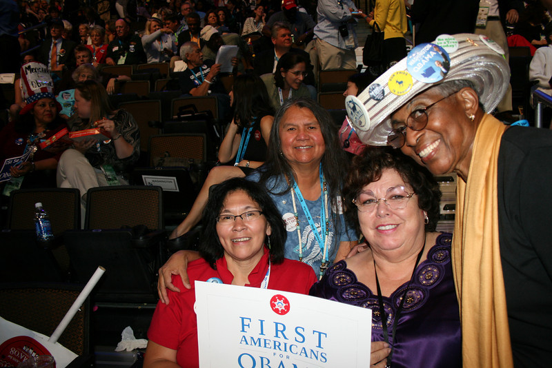 """Lona Wilbur, Patsy Whitefoot, Julie Johnson, Rosa Franklin, Washington delegates at the Democratic National Convention in Denver Wednesday, August 27, 2008. They call themselves the """"four sisters."""" Lona, Patsy and Julie are the first Native American women to become delegates from the state. (Anne-Marie Taylor Lathrop)"""
