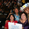 "Lona Wilbur, Patsy Whitefoot, Julie Johnson, Rosa Franklin, Washington delegates at the Democratic National Convention in Denver Wednesday, August 27, 2008. They call themselves the ""four sisters."" Lona, Patsy and Julie are the first Native American women to become delegates from the state. (Anne-Marie Taylor Lathrop)"