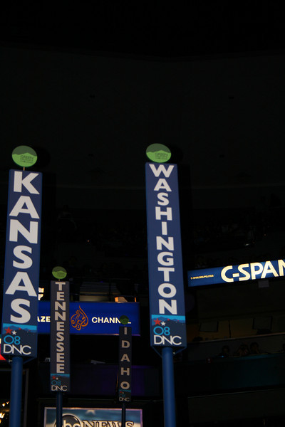 Washington sign on the convention floor during the historic balloting at the Pepsi Center in Denver during the Democratic National Convention Wednesday, August 27, 2008. (Anne-Marie Taylor Lathrop)