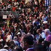 Delegates, including the Washington delegation, go wild as Barack Obama takes the stage at the Pepsi Center during the Democratic National Convention Wednesday, August 27, 2008. (Anne-Marie Taylor Lathrop)