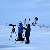 couple of photographers waiting for polar bears
