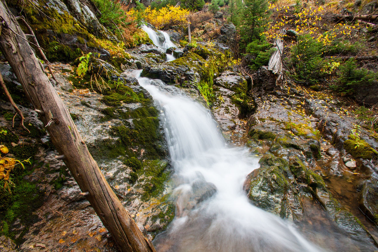 A hidden waterfall in the Sawtooth Mountains.