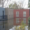 Hurricane Katrina flood waters cover the first story of Michael and Adrienne's Townhome