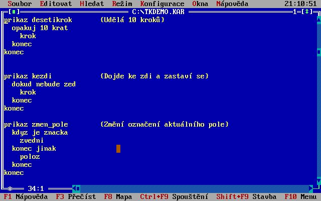 Robot Karel - Turbo Karel ve verzi pro PC. Napsáno v Turbo Pascalu od Borlandu.