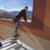 """This little stepladder helps to get over the wall.  The wall is only about 6"""" high above the main roof level."""
