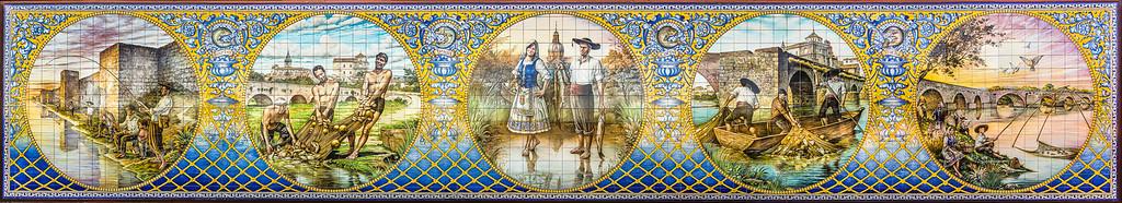 Mural cerámico en homenaje a los antiguos pescadores de Talavera