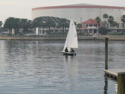 Barry Saunders with crew Rick head out to the race course during Day 2 of the 2004 Jet-14 Midwinters Championship in St. Petersburg, FL