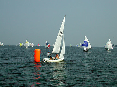Brent Barbehenn rounds first at the 2003 Nationals at West River Sailing Club