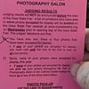 Iowa State Fair Photography Salon Results Card - 2021