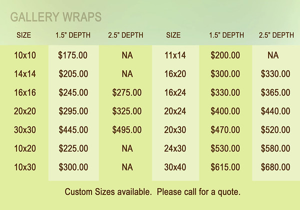 Gallery Wrap Prices 2014