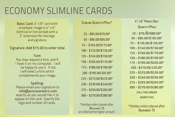 Slimline Cards PRICING
