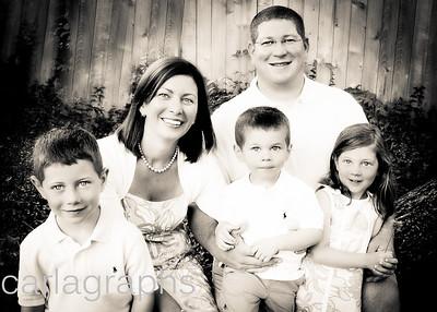 Wedding Family Sitting on Log Look Up BW-
