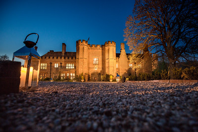 Night time wedding photography at Leez priory
