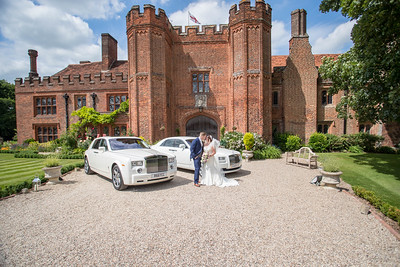 The wedding cars outside Leez Priory