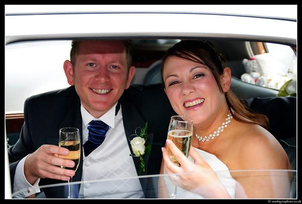 Mr & Mrs Chris & Karen Johnston enjoy a glass of champagne following their wedding ceremony.