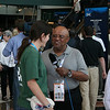 Biff from the David Letterman show interviews and delegate at the Democratic National Convention in Denver, Wednesday, August 27, 2008. (Anne-Marie Taylor Lathrop)