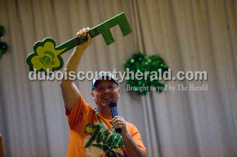 Kevin Eisenhut of Ireland held the key to the city before the start of the Ireland's Got Talent contest Sunday afternoon at Ireland Elementary School. Eisenhut won the contest Mayor for the Day by raising more then his running mates for charity. The contest raise over four thousand dollars. Brooke Stevens/The Herald