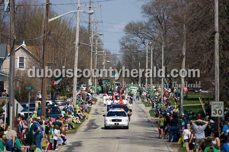 Police cars started the parade in Ireland Sunday afternoon as part of the towns St. Patrick's Celebration. Brooke Stevens/The Herald