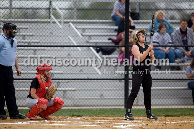 Jasper's Jessica Gudorf prepared to bat during Thursday nights game against North Knox. The Wildcats defeated the North Knox Warriors 18-5. Brooke Stevens/The Herald