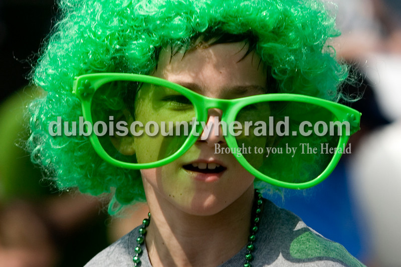 Brandon Sermershein of Ireland, 10, wore a wig and sunglasses to the Irelands St. Patrick's celebration Parade Sunday afternoon. Brooke Stevens/The Herald