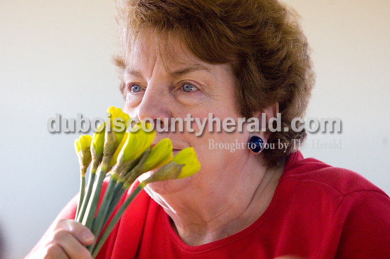 Bonnie Wininger of Jasper smelled a bunch of daffodils while volunteering for the Daffodil Days Campaign at the Ozanam Center Wednesday morning. The campaign raised over 12,000 in Dubois County by selling bunches of flowers to benefit the American Cancer Society. Over 30 people volunteered their time to separate, wrap and deliver the flowers. Brooke Stevens/The Herald