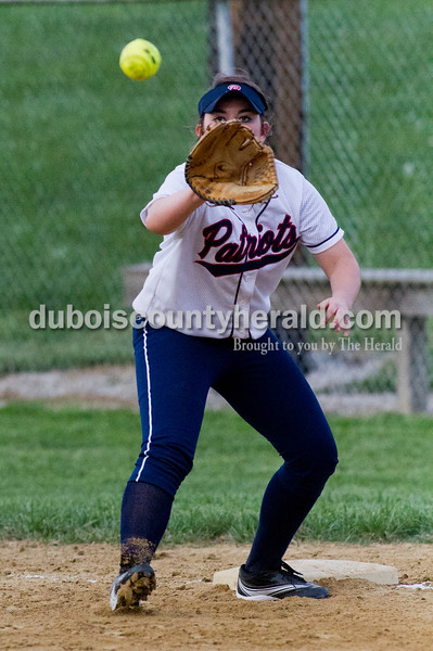 Brooke Stevens/The Herald<br /> Heritage Hills' Felicia Leibring caught a throw to first base during Tuesday nights game against  Jasper at Lincoln City. Heritage Hills defeated Jasper 5-4.