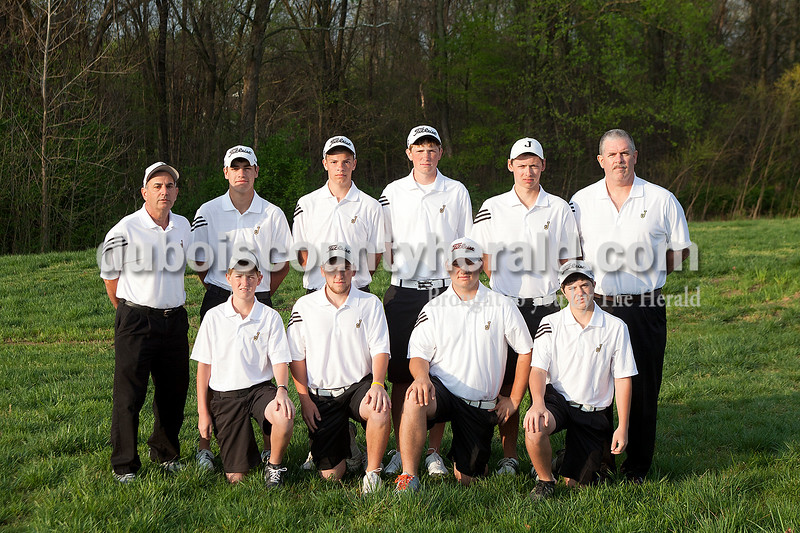 Members of the Jasper boys golf team are, from left, first row: Cam Weyer, Michael Bies, Dru Hein and Jacob Bartley. Second row: Head coach Steve Milligan, Will Seger, Jared Schnarr, Ian Weyer, Andrew Carroll and assistant coach Mike Meyer. Not pictured: Erich Hopf, Jackson Land, Reid Lorey and Nick Monesmith.