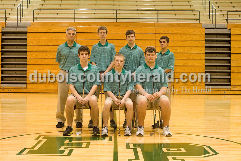 Members of the Forest Park boys golf team are, from left, first row: Drew Weyer, Winston Glenn and Justin Sitzman. Second row: Head coach Chris Tretter, Addison Weyer, Travis Nord and Matt Miller.