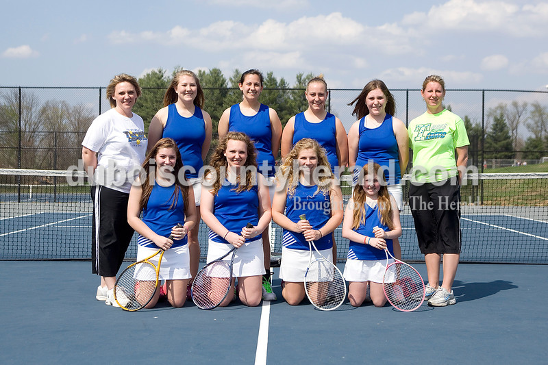 Members of the Northeast Dubois girls tennis team are, from left, first row: Jenna Stemle, Talia Terwiske, Michaela Stemle and Kate Survance. Second row: Head coach Tina Terwiske, Jasmine Riecker, Andrea Smock, Kendra Schroering, Jennifer Schepers and assistant coach Tracy Gutgsell.