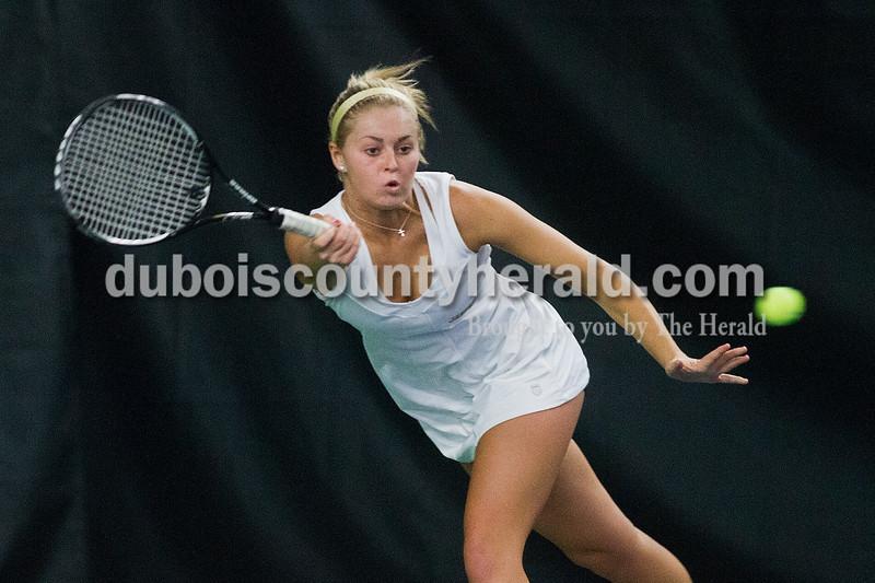 Brooke Stevens/The Herald<br /> Jasper's Hannah Whalen hit the ball during the last match of Saturdays invitational at Jasper.