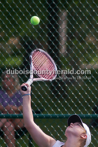 Brooke Stevens/The Herald<br /> Forest Park's Kiersten Hasenour hit the ball during a singles match against Southridge Tuesday afternoon at Ferdinand.