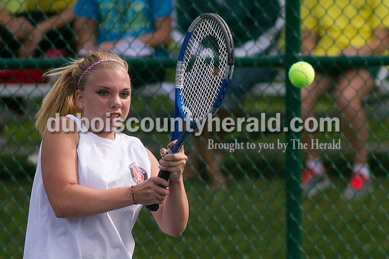 Brooke Stevens/The Herald<br /> Southridge's Alexandra Herron hit the ball during a singles match against Forest Park Tuesday afternoon at Ferdinand.