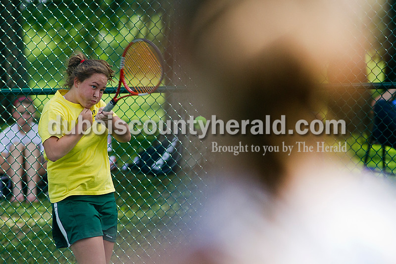Brooke Stevens/The Herald<br /> Forest Park's Samantha Hopf hit the ball during a singles match against Southridge Tuesday afternoon at Ferdinand.