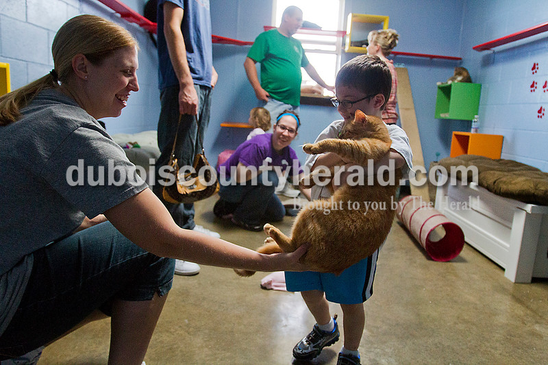 """Brooke Stevens/The Herald<br /> Humane Society volunteer Kate Hoffman of Ferdinand helped Levi White of Tell City, 4, hold a cat  during this weekends 17th annual Pet Adoptathon hosted by the Dubois County Humane Society. People interested in adopting a pet were invited to the Humane Society and to Aaron's in Jasper where Humane Society representatives showed dogs available for adoption. Cats were kept in their newly renovated """"Cat Room"""" at the Humane Society and were available to adopt for a reduced adoption fee."""