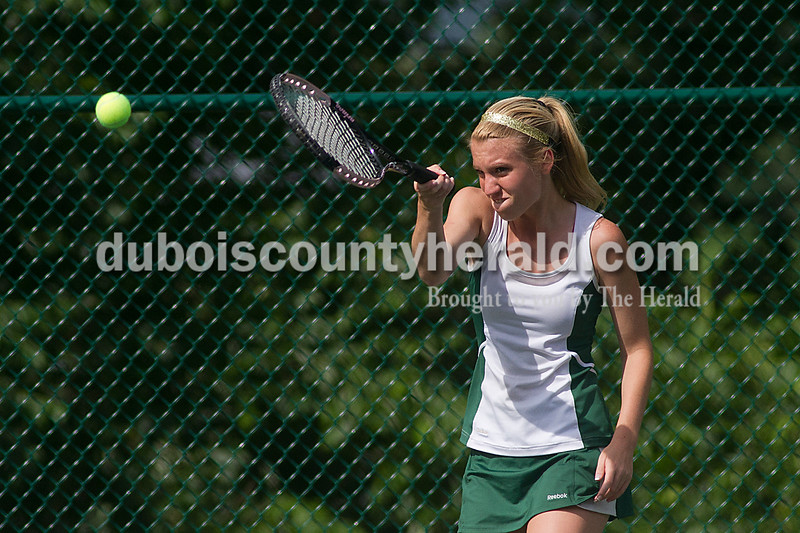 Brooke Stevens/The Herald<br /> Forest Park's Alexa Lange hit the ball during a singles match against Southridge Tuesday afternoon at Ferdinand.