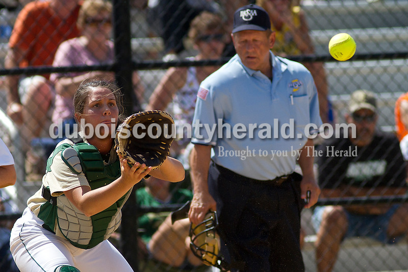 Brooke Stevens/The Herald<br /> Forest Park's Shelby Bettag covered home base during Saturdays game against Jasper at Jasper.