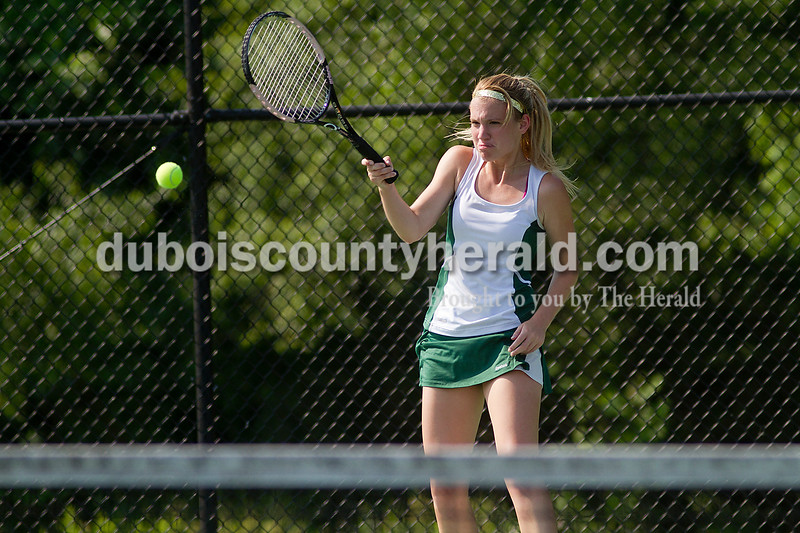 Brooke Stevens/The Herald<br /> Forest Park's Alexa Lange hit the ball during a match against Jasper at Saturday's tennis sectional at Jasper.