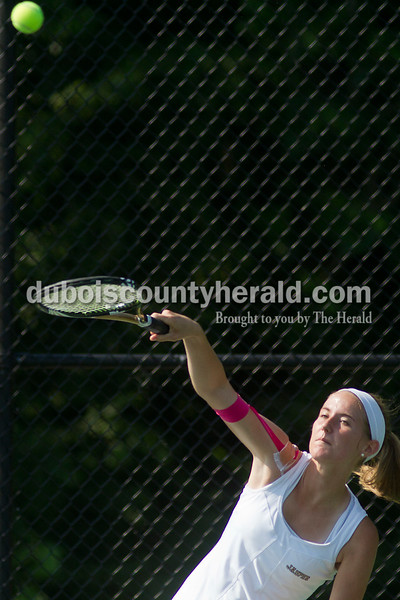 Brooke Stevens/The Herald<br /> Jasper's Ashley Rogers hit the ball during a match against Forest Park at Saturday's tennis sectional at Jasper.