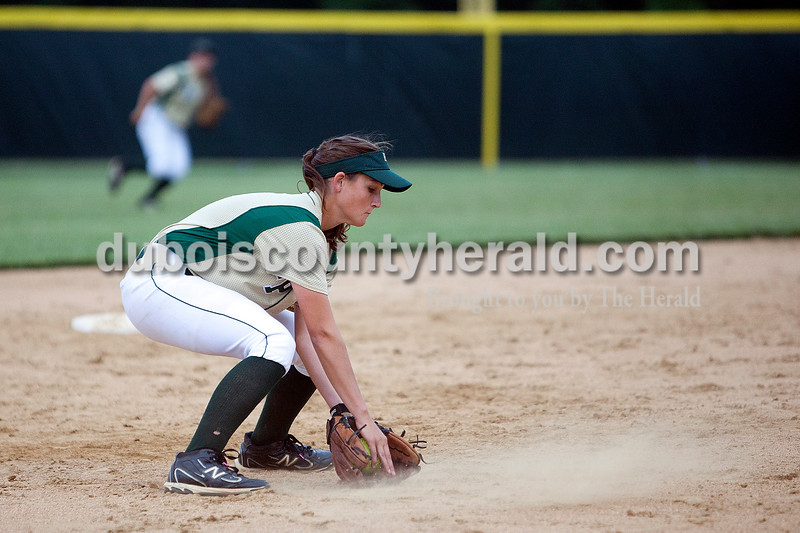 Forest Park's Emily Gutgsell scooped up a ball hit by South Spencer's Kaleigh Goldman in the sixth inning of Monday night's Class 2A softball sectional in Bretzville. The Rangers lost 3-0. Krista Hall/The Herald
