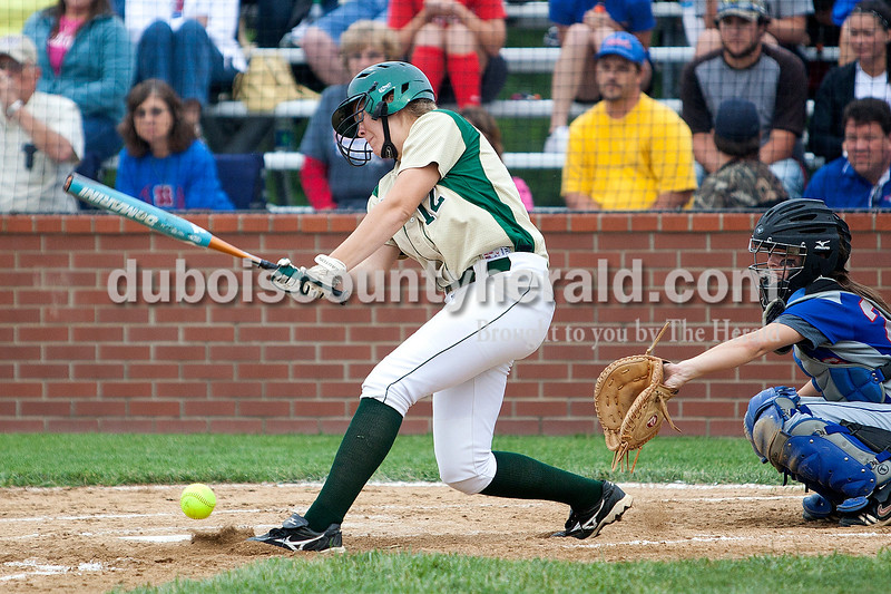 Forest Park's Amanda Lange hit a ground ball in the fourth inning of Monday night's Class 2A softball sectional in Bretzville. The Rangers lost 3-0. Krista Hall/The Herald