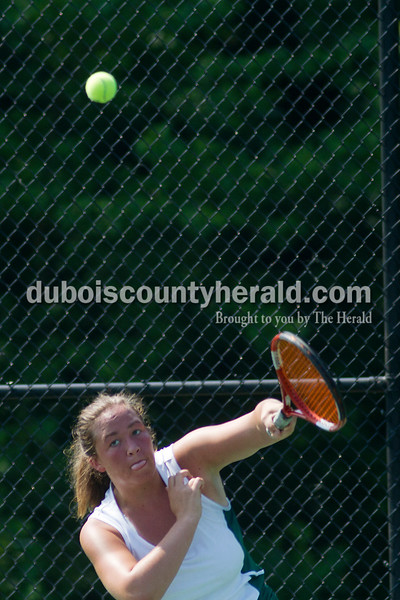 Brooke Stevens/The Herald<br /> Forest Park's Samantha Hopf hit the ball during a match against Jasper at Saturday's tennis sectional at Jasper.