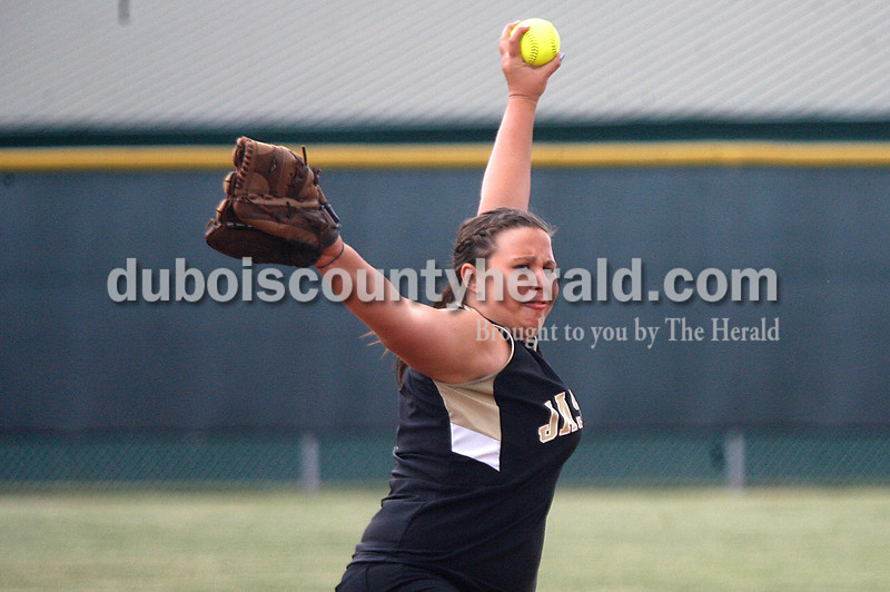 Rachel Mummey/The Herald<br /> Jasper's Keegen Katter pitched for the Lady Wildcats during their game against Heritage Hills in Washington on Monday evening. Heritage Hills won 3-0.