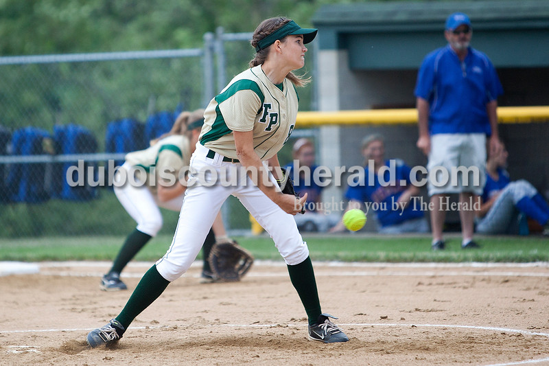 Forest Park's Allison Hoffman pitched to South Spencer's Mackenzie Dohoney in the first inning of Monday night's Class 2A softball sectional in Bretzville. The Rangers lost 3-0. Krista Hall/The Herald
