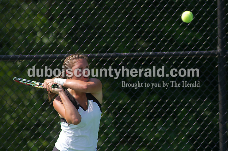 Brooke Stevens/The Herald<br /> Jasper's Ali Schitter hit the ball during her match against Columbus North during Saturdays Semi-State competition.