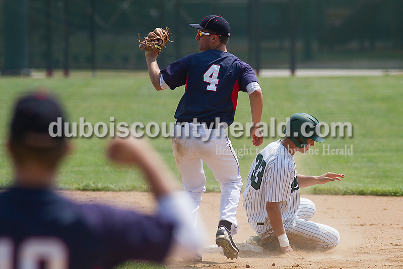 Brooke Stevens/The Herald<br /> Heritage Hills' Damon Wahl covered second while Vincennes' Bryce Nowaskie slid into the base during Mondays Class 3A Baseball Sectional at Jasper. Heritage Hills defeated Vincennes 3-1.